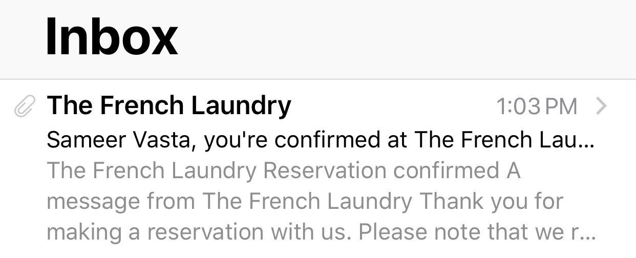 French Laundry reservation email