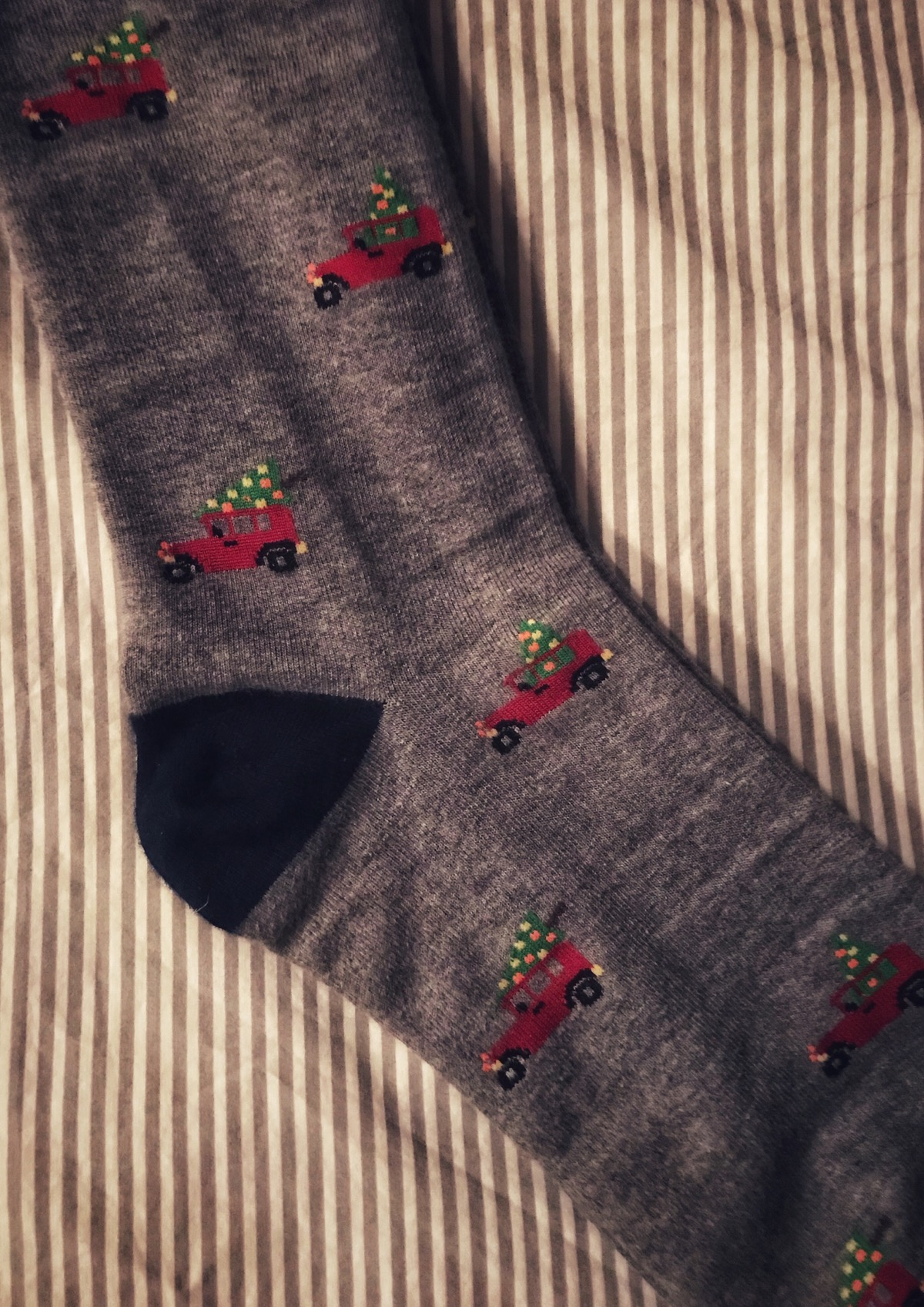 Socks with Christmas trees on them