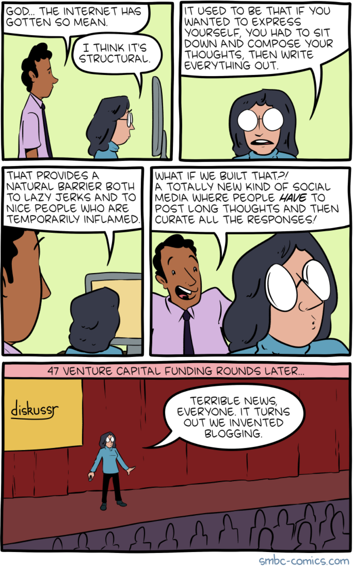 Comic by SMBC making fun of blogging