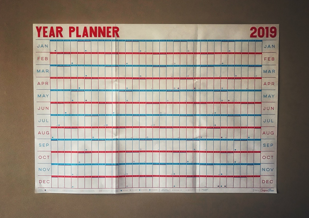 Crispin Finn year planner on wall