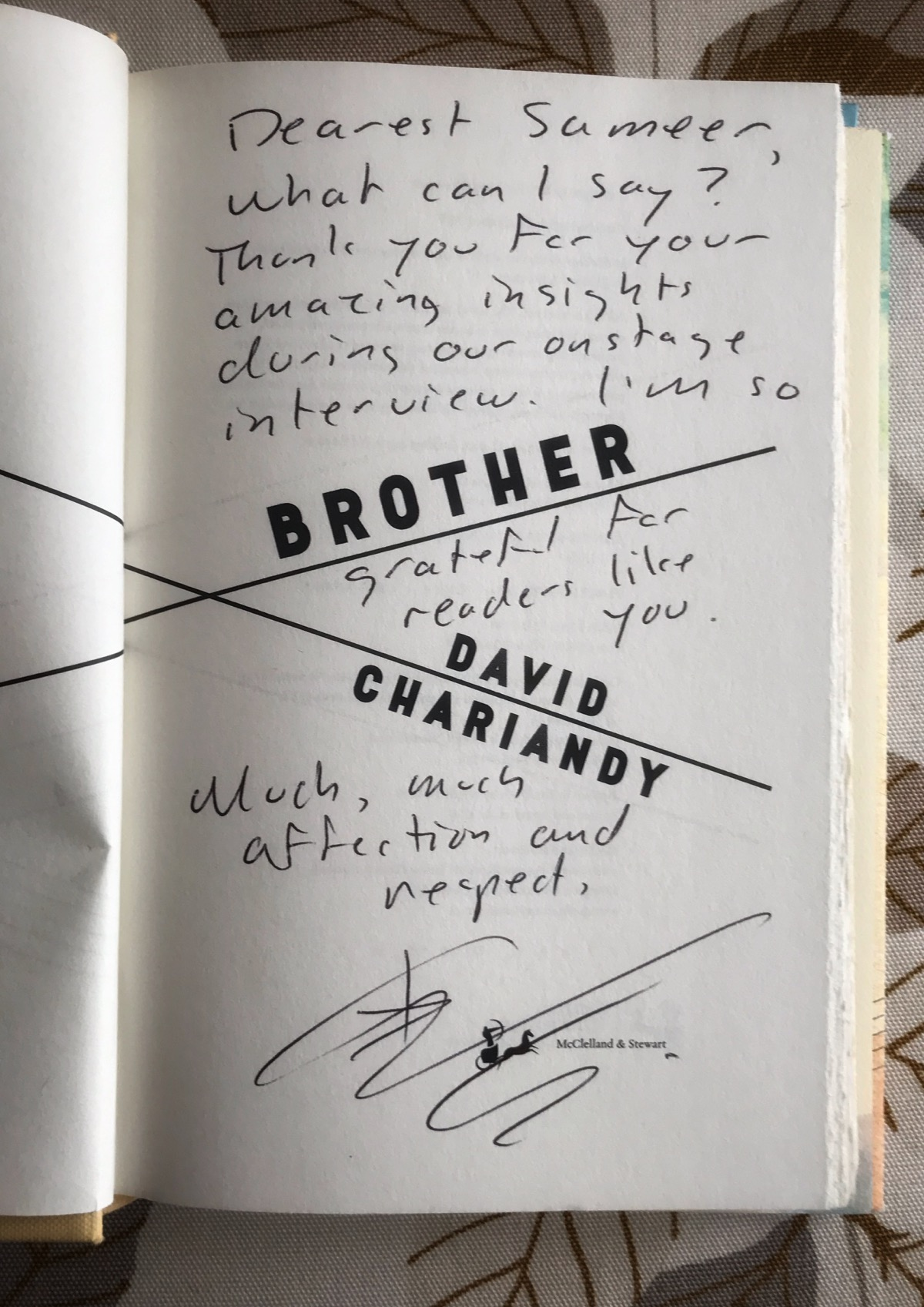 Signed copy of Brother by David Chariandy