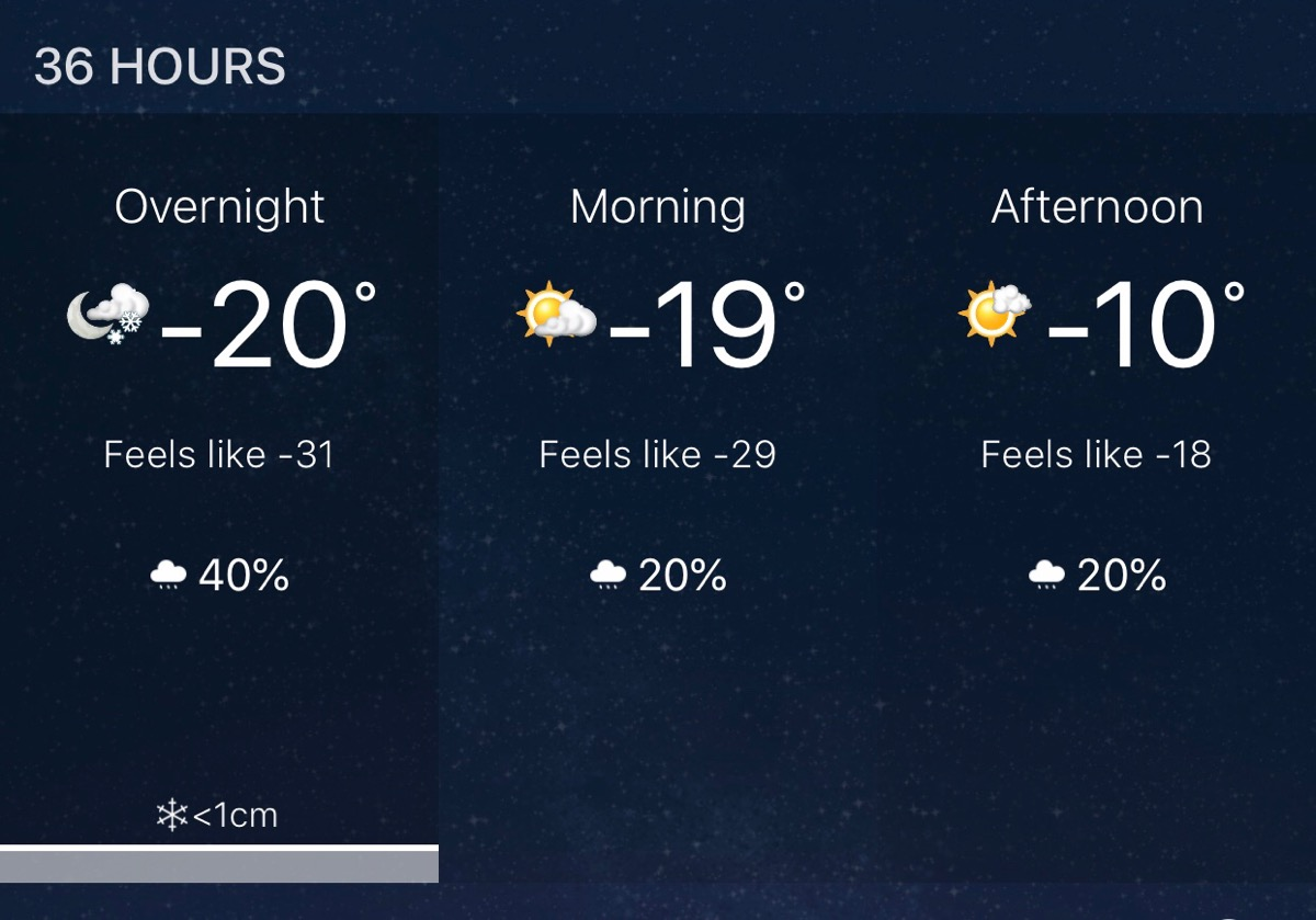 Screenshot of weather app showing temperatures below negative twenty degrees in the next 24 hours