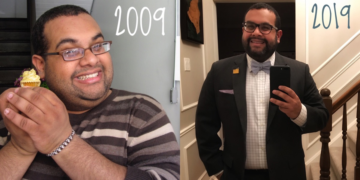 Photo of me in 2009 next to one of me in 2019