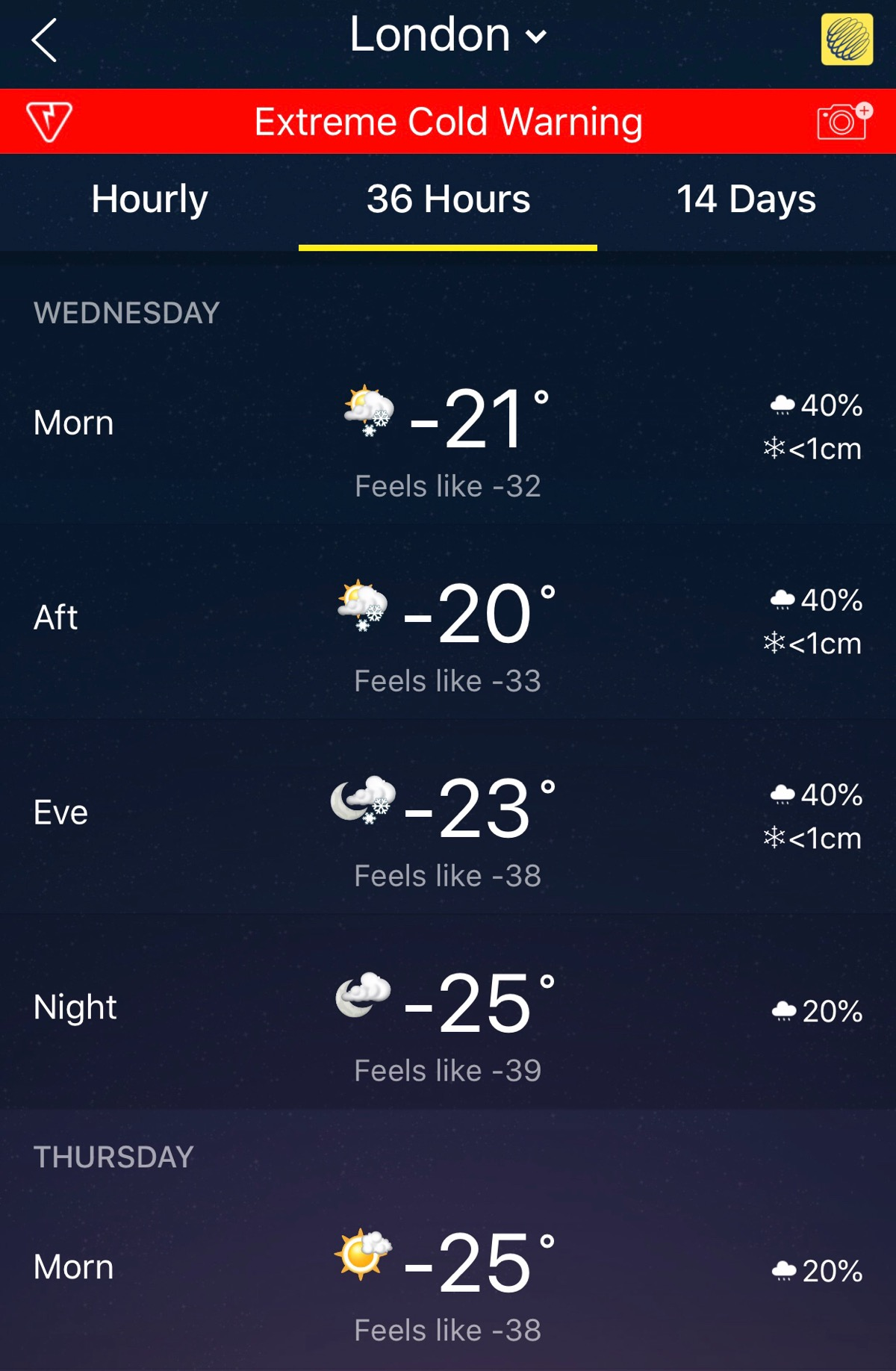 Screenshot of weather app showing obscenely cold temperatures