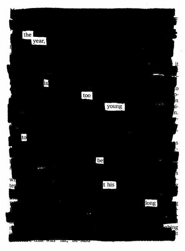Blackout poetry from Austin Kleon's recent newsletter