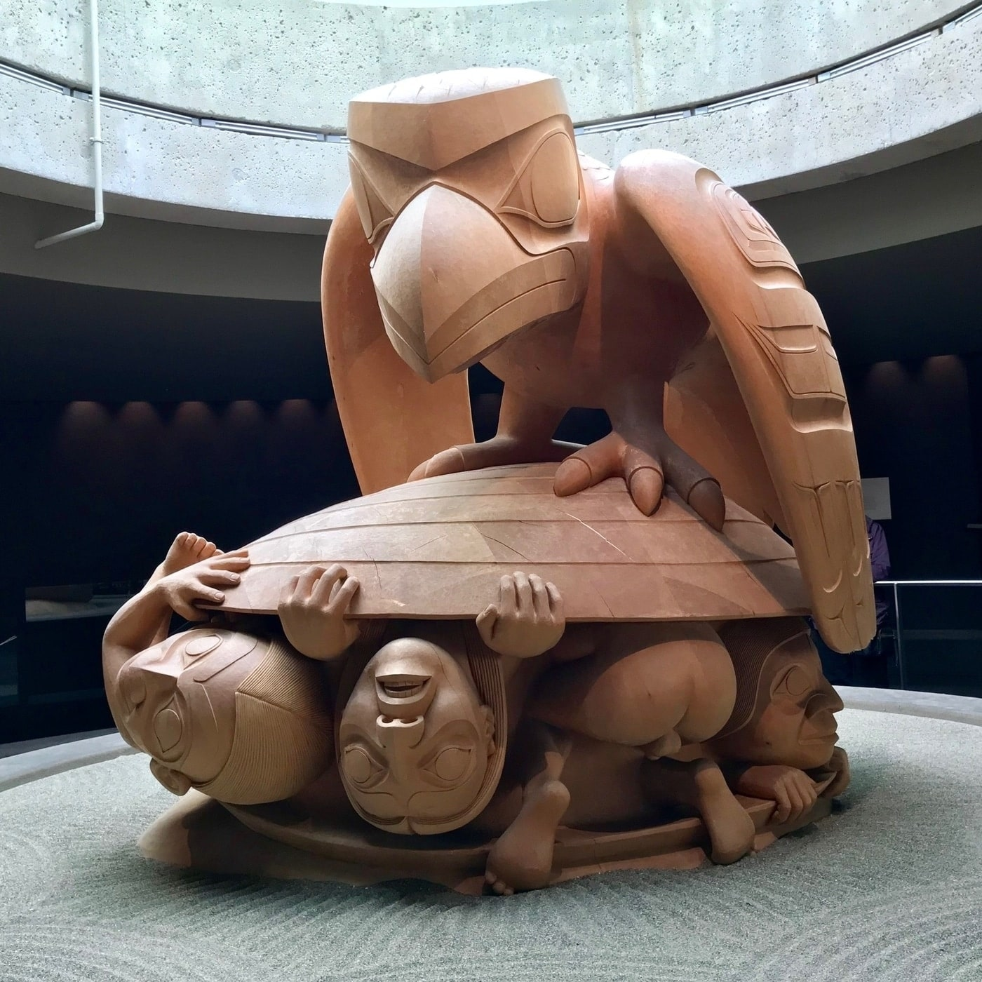 Photo of Bill Reid sculpture at the Museum of Anthropology