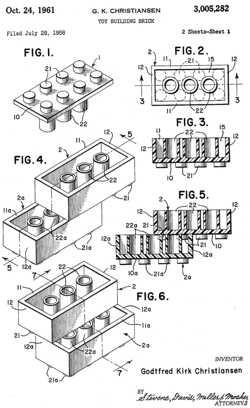 Original US patent drawing for the Lego brick