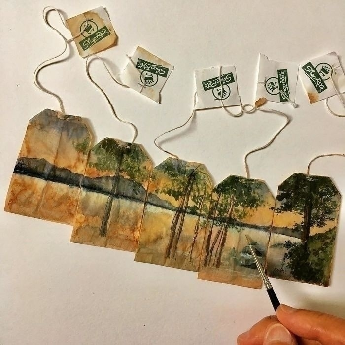Ruby Silvious uses tea bags as canvases for art