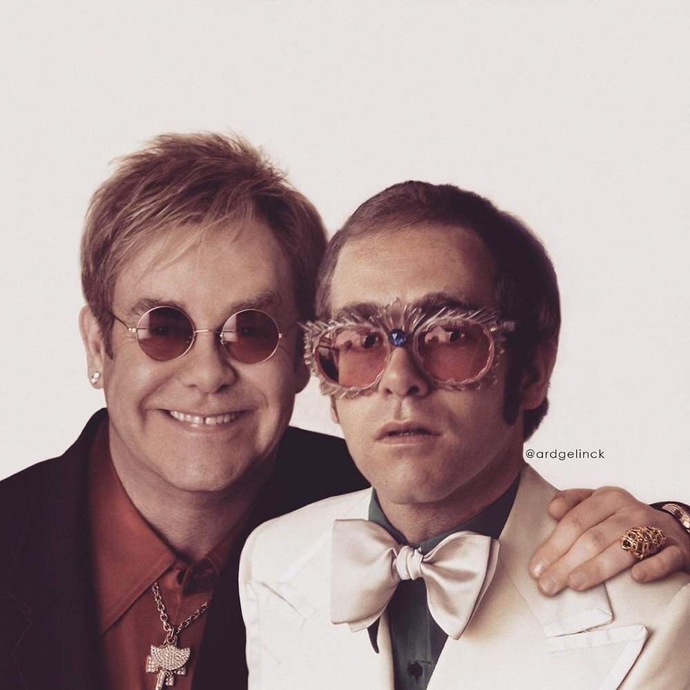Elton John Then and Now