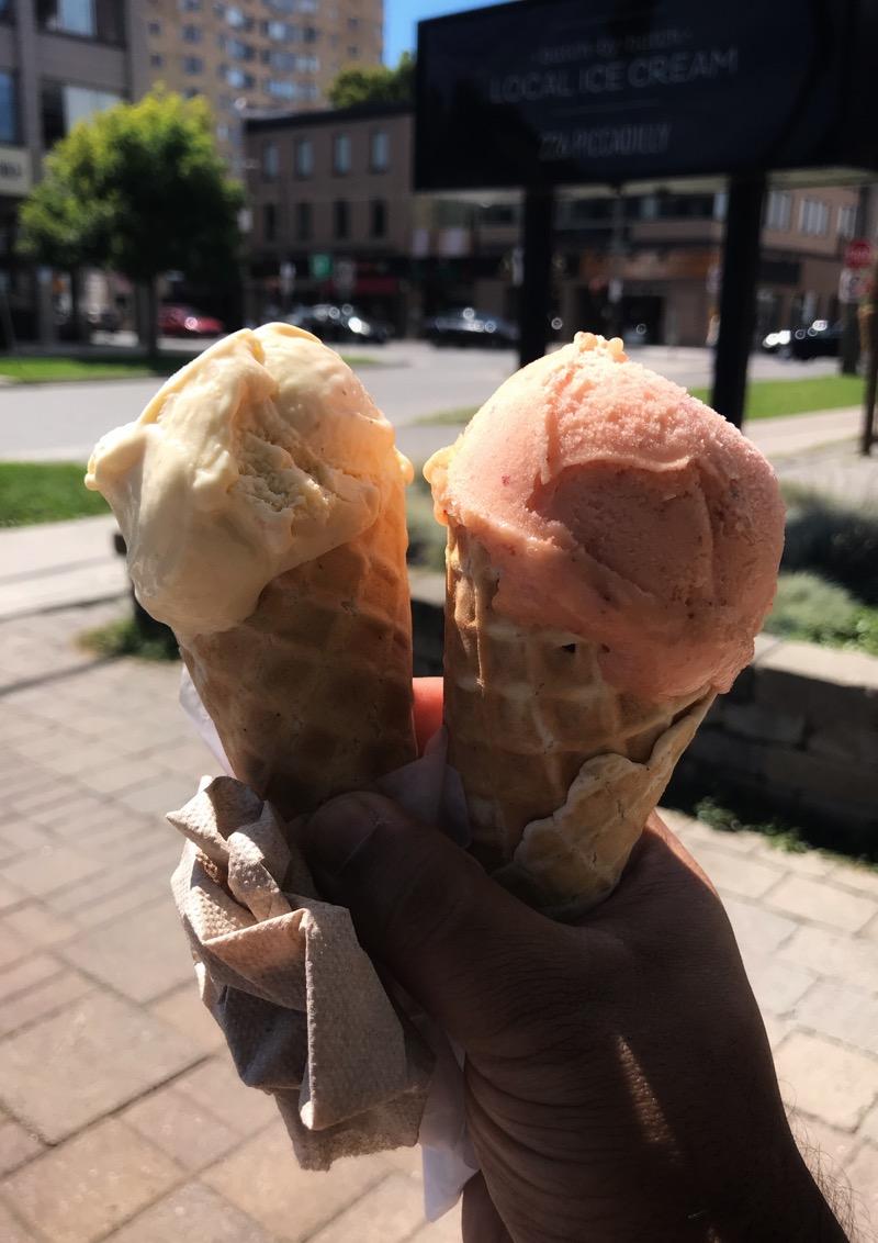 Two ice cream cones from Haven's Creamery