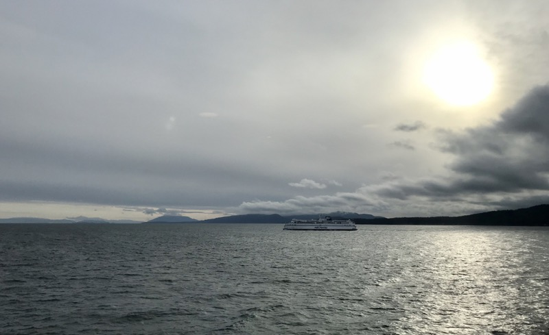 View of mountains and islands and ocean from the ferry