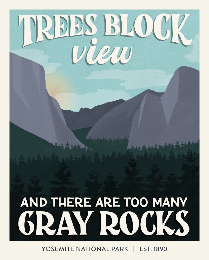 Illustration of poster from Yosemite National Park
