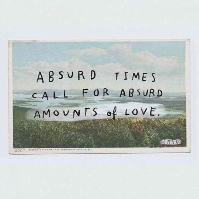 Sign saying absurd times call for an absurd amount of love