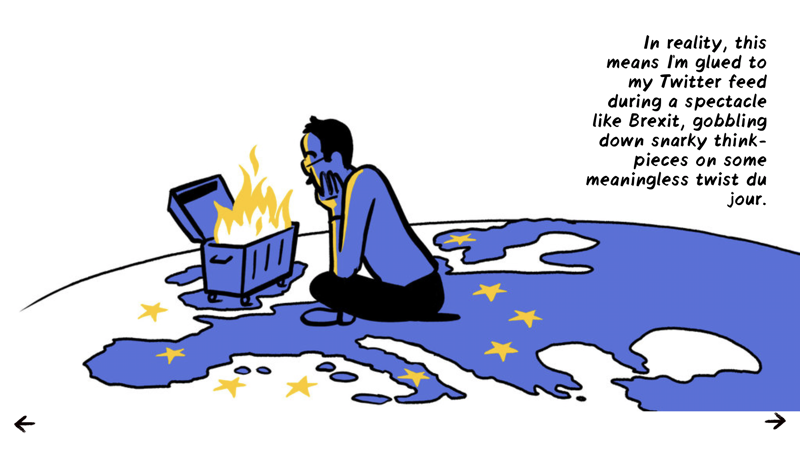 Illustration of a man staring at a dumpster fire over the map of Europe