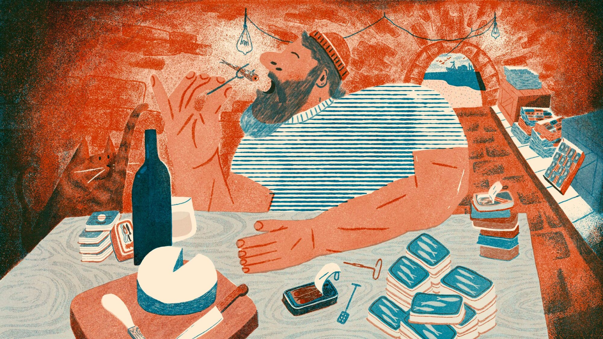 Illustration of man eating sardines at a table