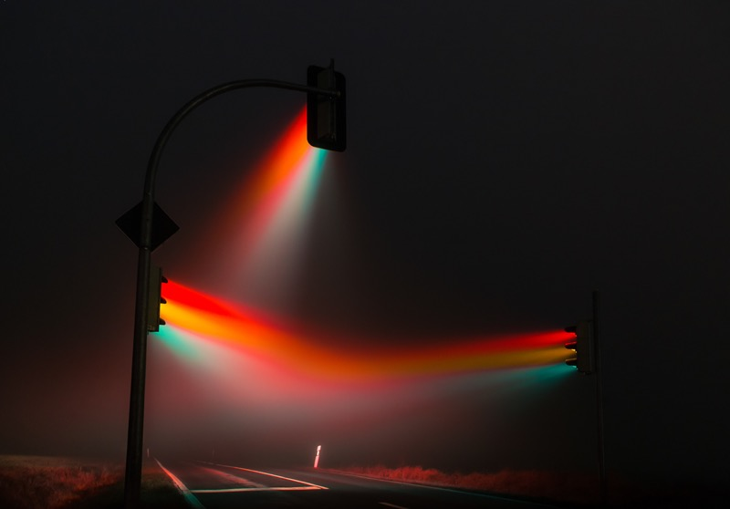 Long exposure photo of traffic lights