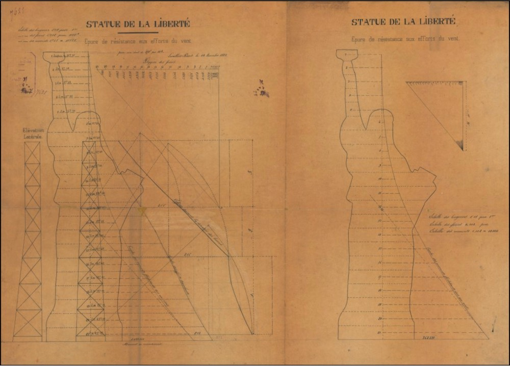 Gustave Eiffel's drawing for the Statue of Library