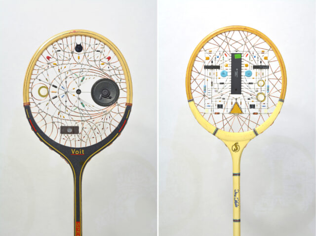 Vintage rackets re-strung with found electronics by Leonardo Ulian