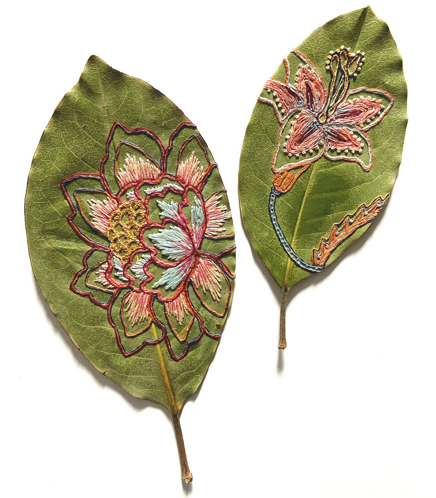 Dried leaves embroidered with beautiful botanicals