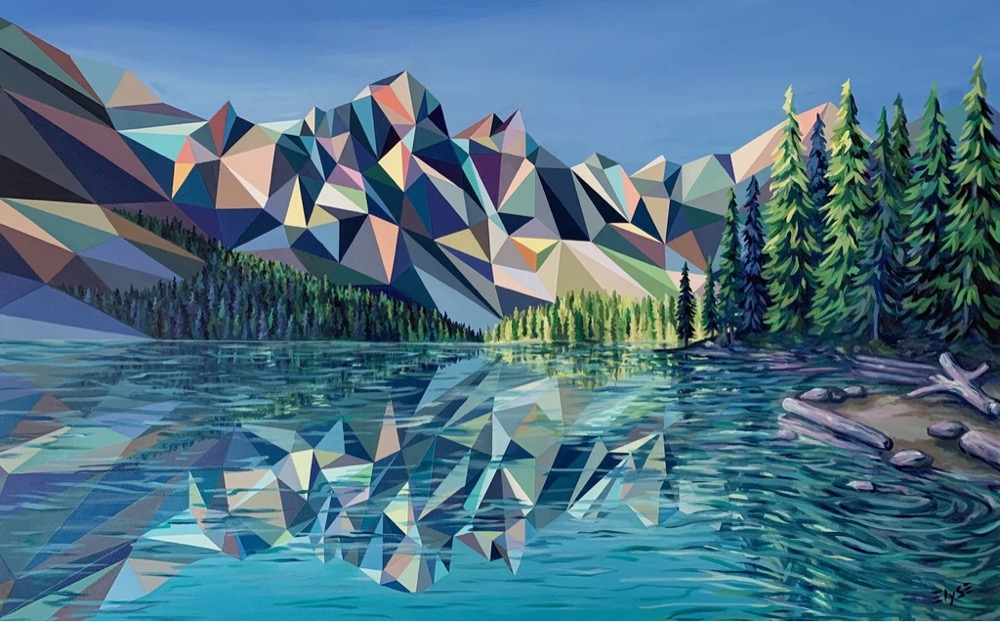 Pixelated landscape and mountains by Elyse Dodge