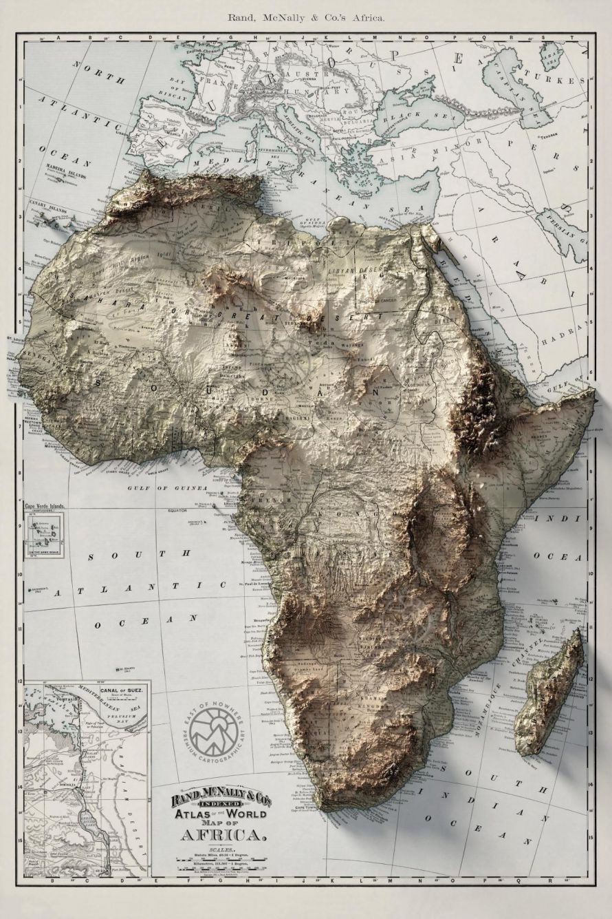 Topographical map of Africa